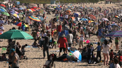 CROWD AT THE BEACH Stock Footage