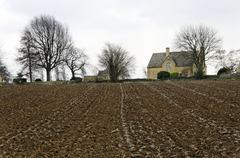 Plowed field in the Costwold - stock photo