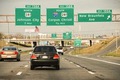 Driving on a Texas Interstate in Spring Stock Photos