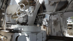 Inside of an old Self Propelled Artillery - stock footage