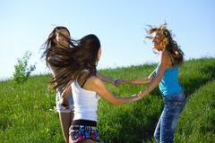 women grass fun - stock photo