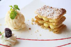Millefeuille with ice cream Stock Photos