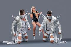 Sexy girl holding on chain strong guys in masks - stock photo