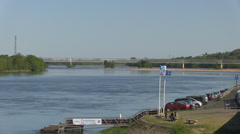 Railway bridge and loire river at saumur Stock Footage