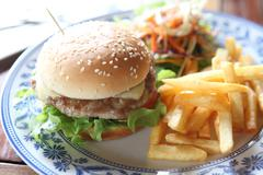 hamburger with fries and salad - stock photo