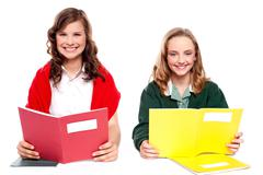 Smiling girl learning from school books - stock photo