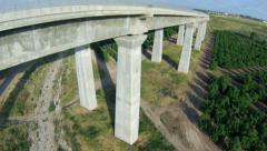 aerial view of train bridge - stock footage