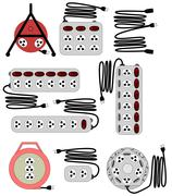 various type of electrical socket and cord extender vector set - stock illustration