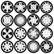 wheel rim design set - stock illustration