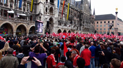 FC Bayern Cheering double Joy Pokal Finale Marienplatz Germany Europe Stock Footage