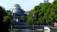 Munich Deutsches Museum along river Isar Germany Europe Stock Footage
