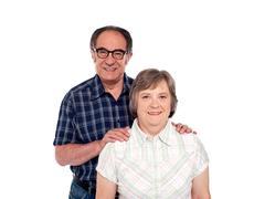 Happy senior lovable couple posing - stock photo
