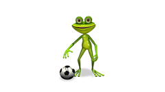 Frog with a soccer ball - stock footage