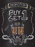 Buy one Get one juice on blackboard Stock Illustration