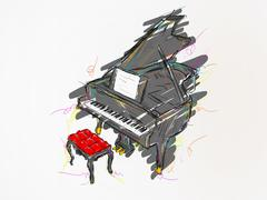 Piano Painting Vector Art Stock Illustration