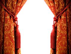 Luxury curtain with a copy-space in the middle Stock Photos
