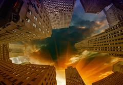 Giant Skyscrapers under a dramatic sky Stock Photos