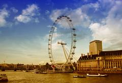 Stock Photo of Westminster Bridge and the popular tourist attraction London Eye