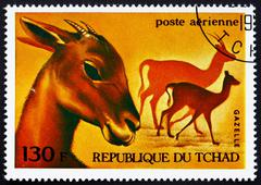 Postage stamp Chad 1972 Gazelles, African Wild Animals - stock photo