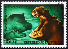 Postage stamp Chad 1972 Hippopotamuses, African Wild Animals - stock photo