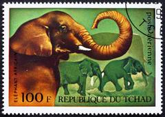 Postage stamp Chad 1972 African Elephants, African Wild Animals Stock Photos