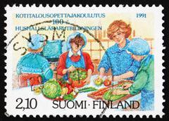 Postage stamp Finland 1991 Home Economics Education Stock Photos