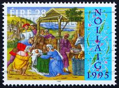 Postage stamp Ireland 1995 Adoration of the Shepherds, Christmas - stock photo