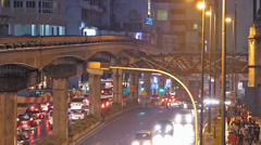 Busy Bustle Time Lapse Malaysia Kuala Lumpur KL monorail on elevated Railway Stock Footage