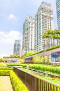 Ecologic building with plants on the external - stock photo