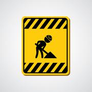 vector sign under construction - stock illustration