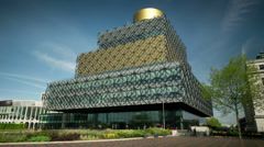 The Library of Birmingham. Timelapse with a moving camera. Stock Footage