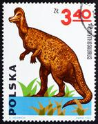 Postage stamp Poland 1965 Corythosaurus, Dinosaur Stock Photos