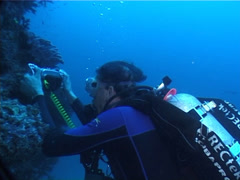 Videographer taking images on wall in Fiji Islands, UP6154 Stock Footage