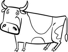 Stock Illustration of cartoon illustration of farm cow for coloring