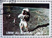 Stock Photo of Postage stamp Umm al-Quwain 1972 Astronaut walks on the Moon