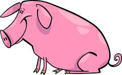 Cartoon illustration of farm pig Stock Illustration