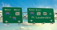 Road Sign of American Interstates - stock photo