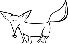 Stock Illustration of cartoon illustration of fox for coloring
