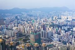 Urban downtown scene in Hong Kong - stock photo