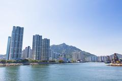 Hong Kong apartments along the coast Stock Photos