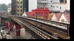 Impressive Time Lapse Rapid KL metro subway Train along Kuala Lumpur Downtown Stock Footage
