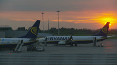 Ryanair fleet parked at sunset Stock Footage