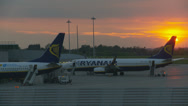 Stock Video Footage of Ryanair fleet parked at sunset