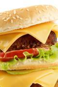 Tasty Cheeseburger closeup - stock photo