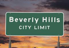 beverly hills city limits sign - stock photo