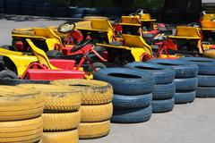 Fence of old tires at the track for go cart Stock Photos