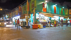 Singapore Little India vegetable shop stall at night Stock Footage