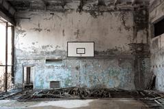 Basket ball room in Chernobyl Stock Photos