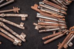 A large group of rusty keys Stock Photos