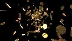 Flight coins - Loopable background - stock footage